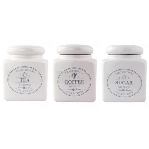 Square Vintage Cream Ceramic Tea Coffee Sugar Jars Canisters